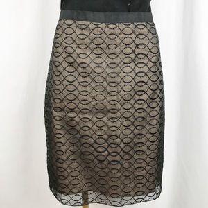 KENAR Silk embroidered overlay pencil skirt.  A184